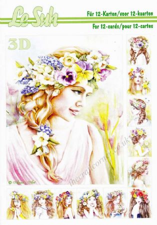 Girls With Flowers In Their Hair A5 3D Decoupage Book from Le Suh